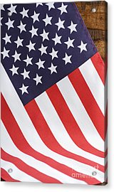 Usa Stars And Stripes Flag On Dark Wood Acrylic Print by Milleflore Images