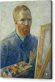 Van Gogh Self Portrait In Front Of Easel Acrylic Print by Vincent van Gogh