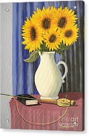 Vase Of Sunflowers Acrylic Print by Don Lindemann