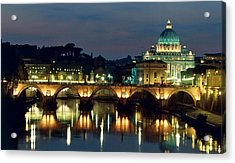 Vatican Skyline  View Of St Peters Basilica In The Evening Acrylic Print