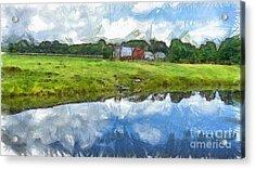 Vermont Farm Landscape Pencil Acrylic Print