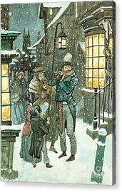 Victorian Christmas Scene Acrylic Print by Peter Jackson