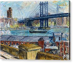 View From Brooklyn Bridge Acrylic Print by Joan De Bot