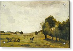 View Near Epernon Acrylic Print by Jean-Baptiste-Camille Corot