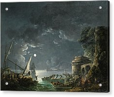 Acrylic Print featuring the painting View Of A Moonlit Mediterranean Harbor by Carlo Bonavia