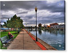 View Of Delaware Bridge At Erie Canal Harbor Acrylic Print