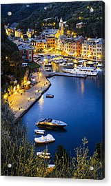 View Of The Harbour At Dusk  Portofino Acrylic Print by Yves Marcoux