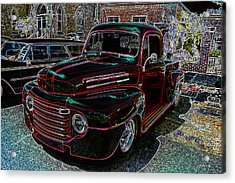 Vintage Chevy Truck Neon Art Acrylic Print