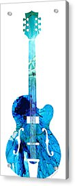 Vintage Guitar 2 - Colorful Abstract Musical Instrument Acrylic Print