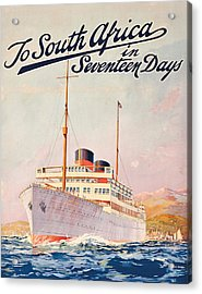 Vintage Travel Poster Advertising A Cruise To South Africa Acrylic Print