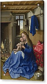 Virgin And Child In An Interior Acrylic Print by Robert Campin