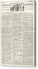 Virginia Gazette, 1776 Acrylic Print by Granger