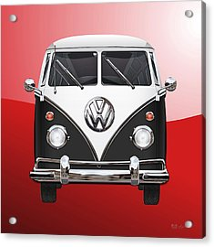 Volkswagen Type 2 - Black And White Volkswagen T 1 Samba Bus On Red  Acrylic Print by Serge Averbukh