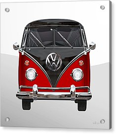 Volkswagen Type 2 - Red And Black Volkswagen T 1 Samba Bus On White  Acrylic Print by Serge Averbukh