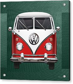 Volkswagen Type 2 - Red And White Volkswagen T 1 Samba Bus Over Green Canvas  Acrylic Print