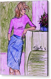 Acrylic Print featuring the drawing Waiting by P J Lewis