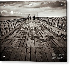 Acrylic Print featuring the photograph Walking The Pier by Perry Webster