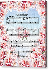 Waltz Of The Flowers Pink Roses Acrylic Print by Irina Sztukowski