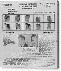 Wanted Poster For John Dillinger Acrylic Print