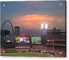 Warm Glow Over St. Louis Arch And Stadium Acrylic Print