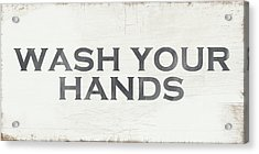 Wash Your Hands Modern Farm Sign- Art By Linda Woods Acrylic Print