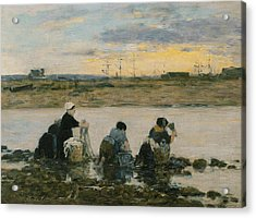 Washerwomen By The River Acrylic Print by Eugene Boudin
