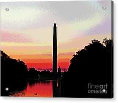 Washington Monument Ducks At Sunrise Acrylic Print