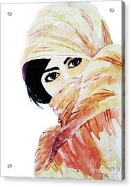Watercolor Muslim Women Acrylic Print by Rasirote Buakeeree