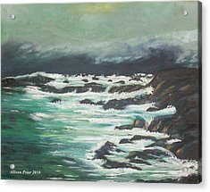Waves In The Cove Acrylic Print by Allison Prior