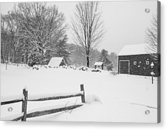 Wayside Inn Grist Mill Covered In Snow Storm Black And White Acrylic Print by Toby McGuire