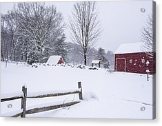 Wayside Inn Grist Mill Covered In Snow Storm Acrylic Print by Toby McGuire