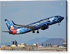 Westjet Boeing 737-8ct C-gwsz Magic Plane Phoenix Sky Harbor January 22 2016 Acrylic Print by Brian Lockett