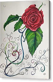 Whimsical Red Rose Acrylic Print