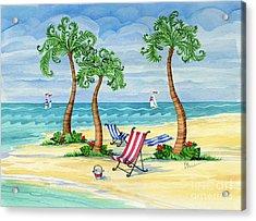 Whimsy Bay Sling Chairs Acrylic Print