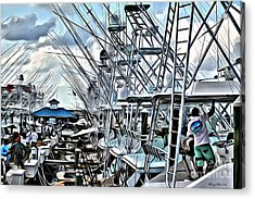 White Marlin Open Acrylic Print by Carey Chen