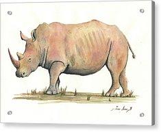 White Rhino Acrylic Print by Juan Bosco