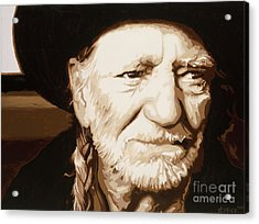 Acrylic Print featuring the painting Willie Nelson by Ashley Price