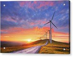 wind turbines in Oiz eolic park Acrylic Print
