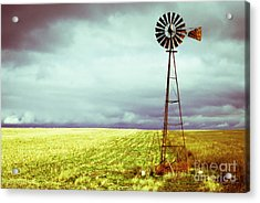 Windmill Against Autumn Sky Acrylic Print by Gordon Wood