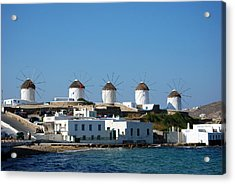 Windmills Of Mykonos Acrylic Print by Harvey Barrison