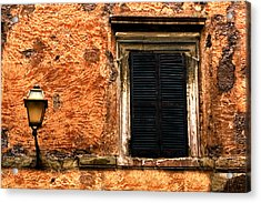 Window And Lamp Rome Italy Acrylic Print by Xavier Cardell