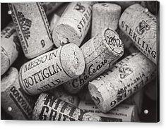 Wine Corks Black And White Acrylic Print by April Reppucci