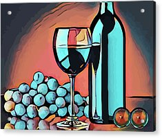 Wine Glass Bottle And Grapes Abstract Pop Art Acrylic Print