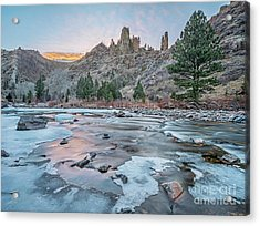 winter dusk over Poudre Canyon Acrylic Print by Marek Uliasz