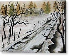 Winter Farmhouse Acrylic Print by Jimmy Smith