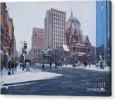 Winter In Copley Square, Boston Ma Acrylic Print