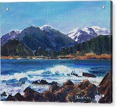 Acrylic Print featuring the painting Winter Mountains Alaska by Yulia Kazansky