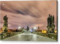Winter Night At Charles Bridge, Prague, Czech Republic Acrylic Print