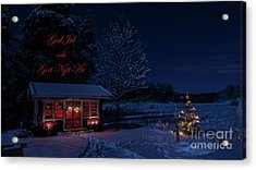Acrylic Print featuring the photograph Winter Night Greetings In Swedish by Torbjorn Swenelius