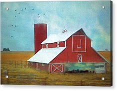 Winter Red Barn Acrylic Print